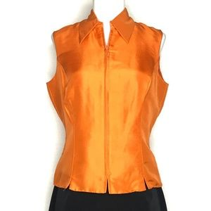 NWT ile Orange Sleeveless Silk Blouse A160420